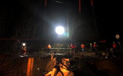 Pose d'un tablier, de nuit par Aquitaine Rail